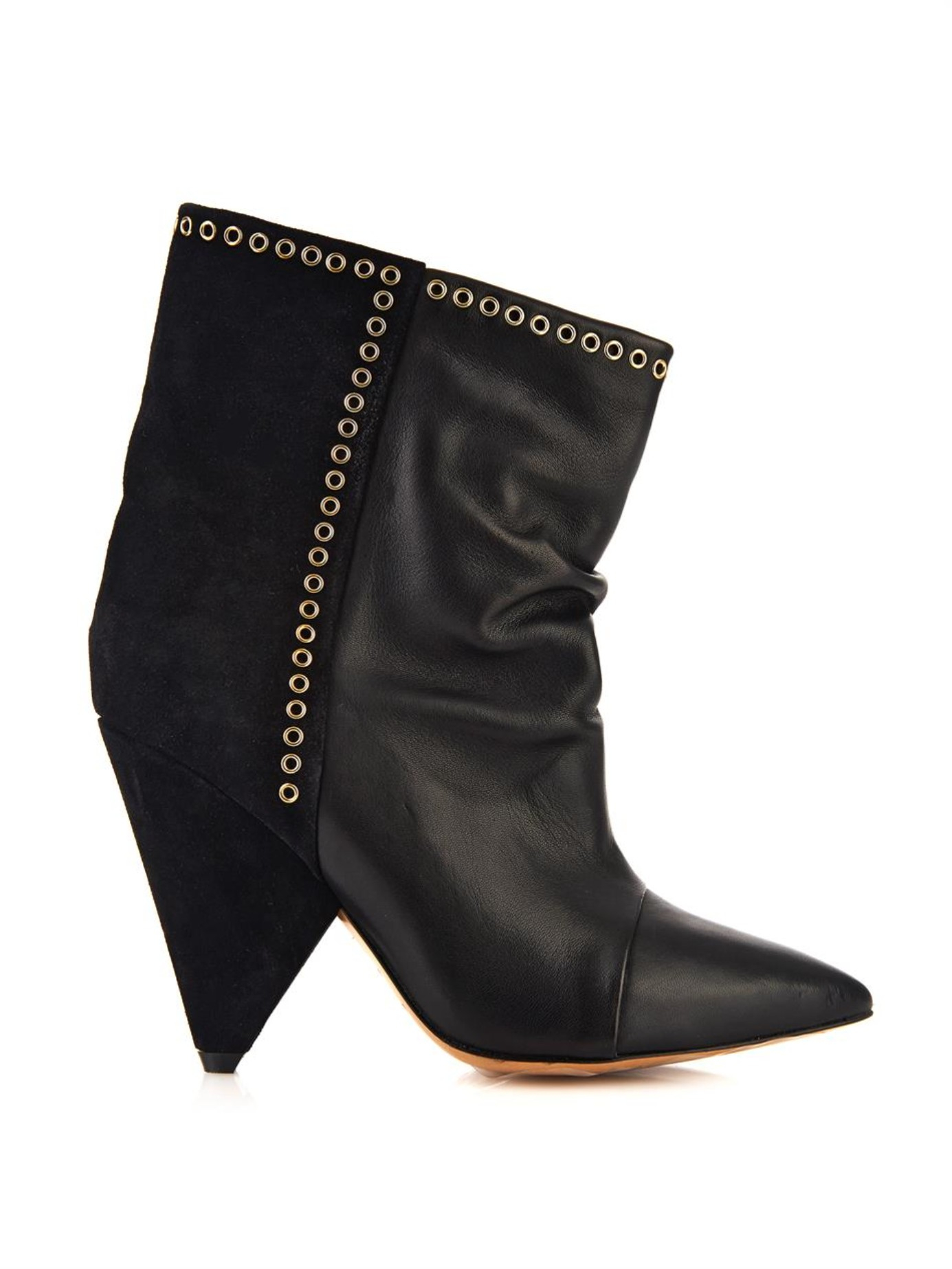 Isabel marant Lance Suede And Leather Ankle Boots in Black | Lyst