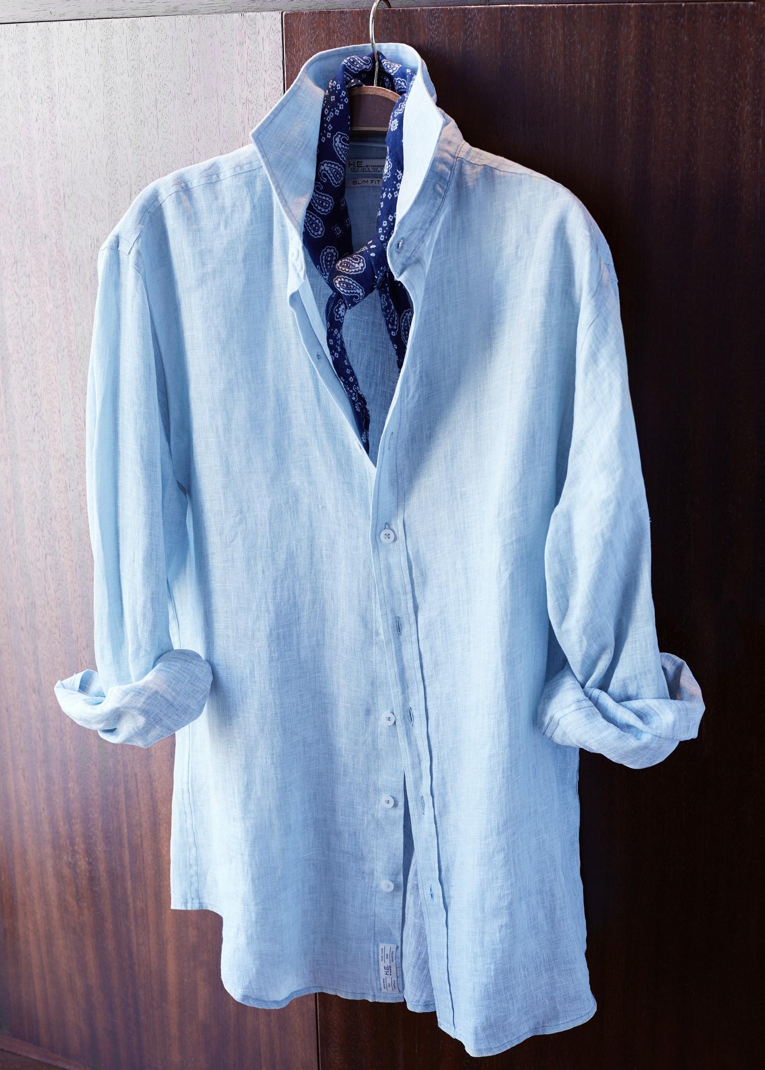 Mango Slim Fit Linen Shirt In Sky Blue Blue For Men Lyst