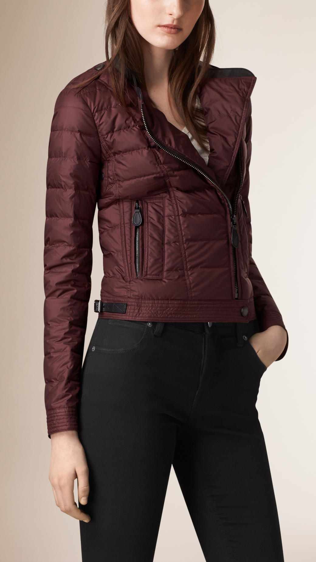 Lyst Burberry Cropped Down Filled Puffer Jacket In Purple