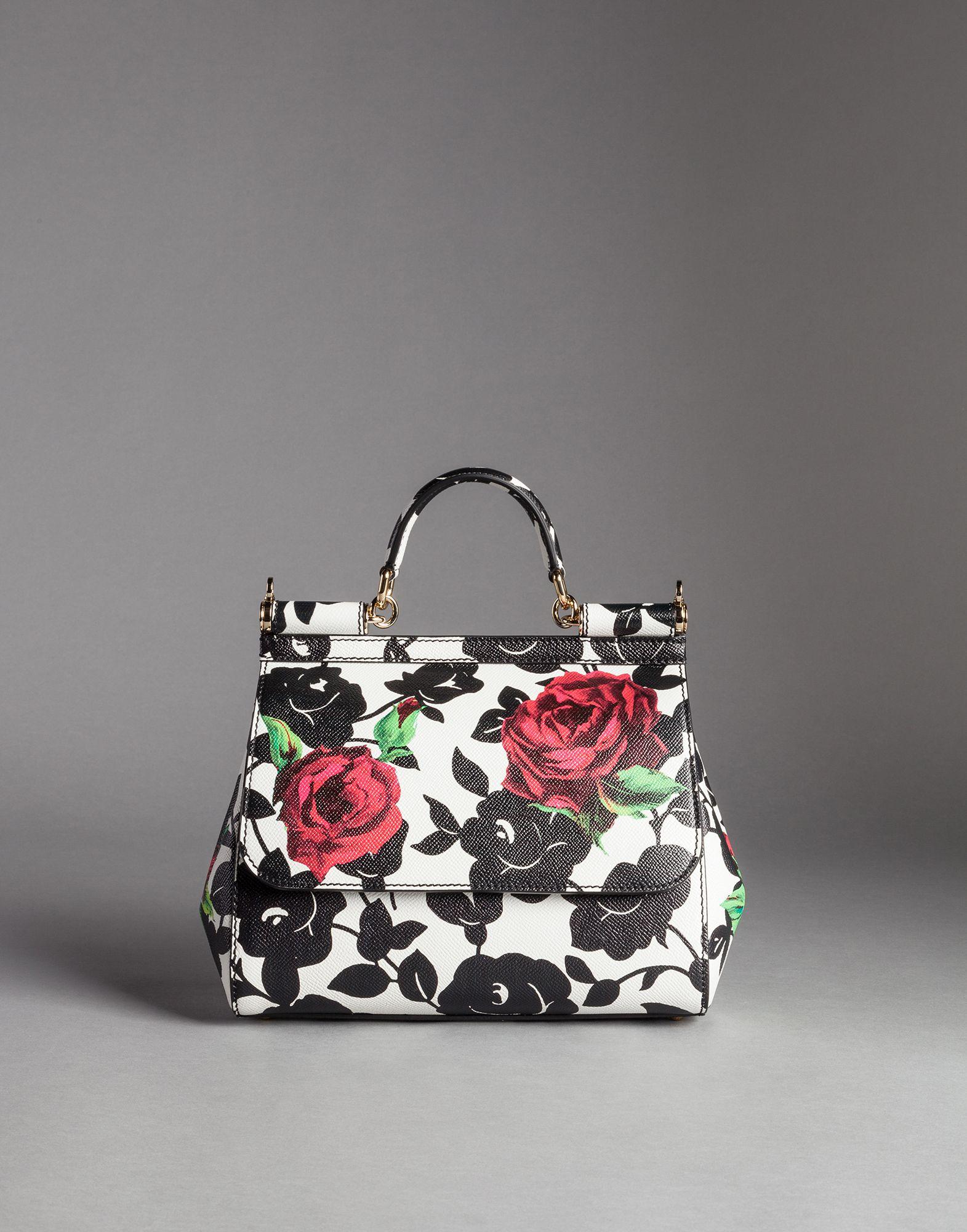 90b7666fad99 Lyst - Dolce   Gabbana Rose Print Dauphine Calfskin Medium Sicily ...