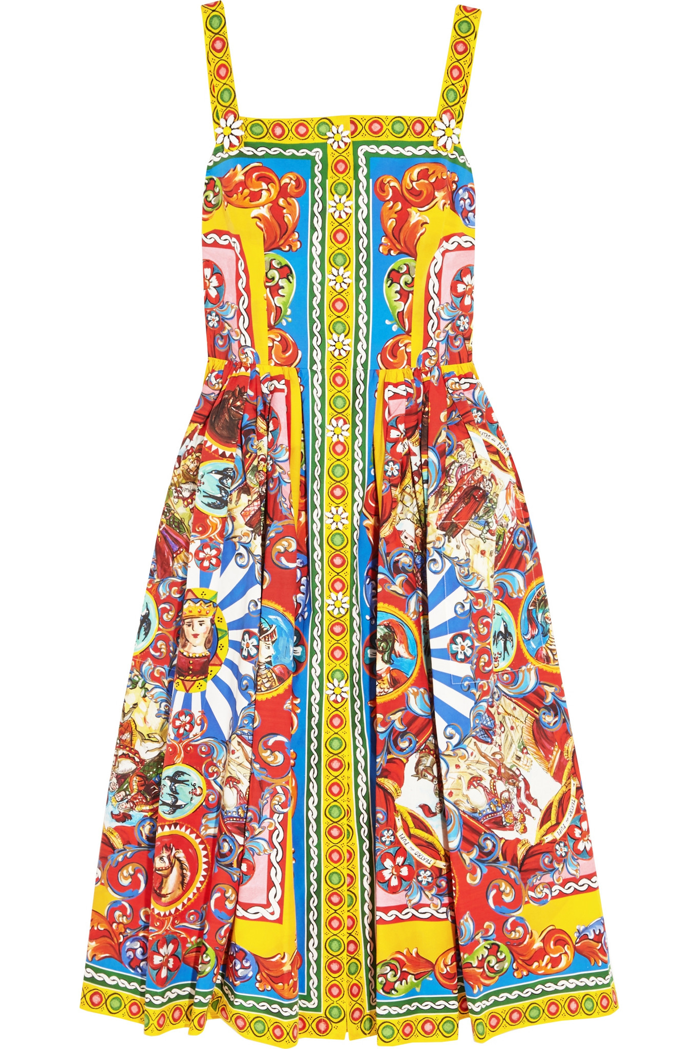 63812140 Dolce & Gabbana Printed Cotton-poplin Midi Dress - Lyst