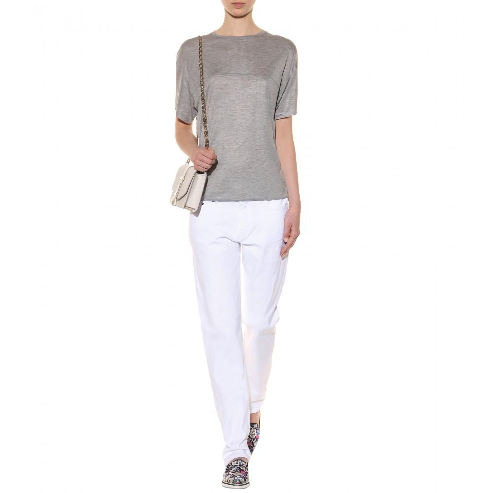Lyst Victoria Beckham New Boyfriend Jersey T Shirt In Gray