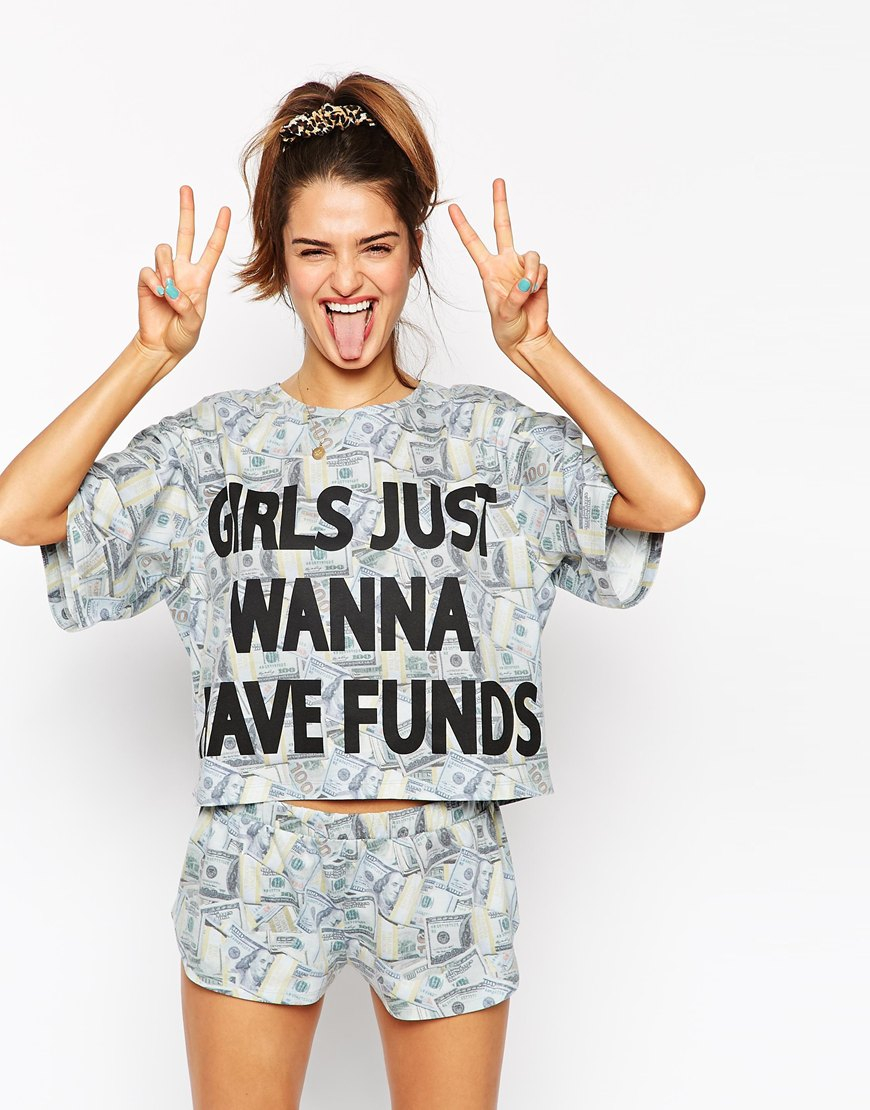 Asos summer pool inflatables tee short pyjama set in for Cool t shirts for 12 year olds