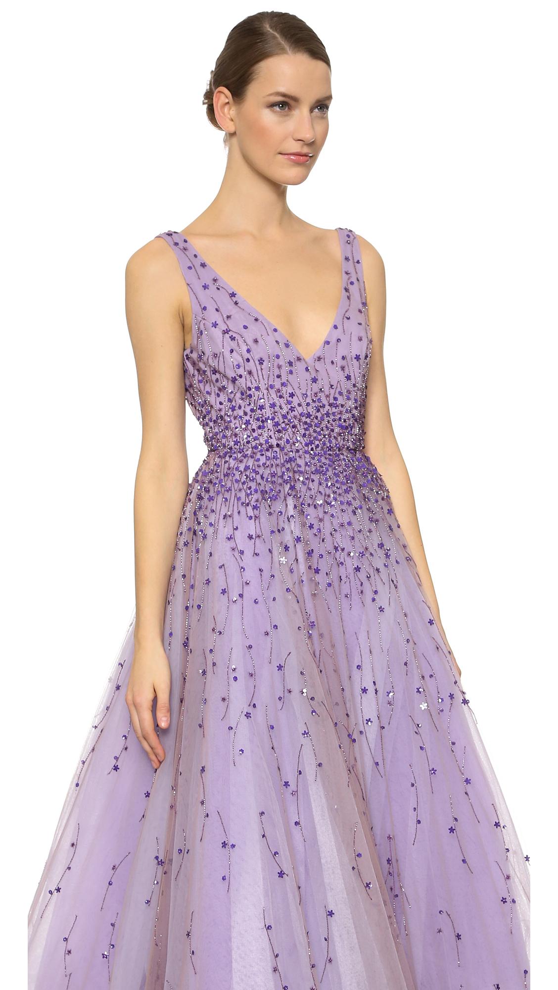 Lyst - Monique Lhuillier Paillette Degrade Ball Gown - Violet in Purple
