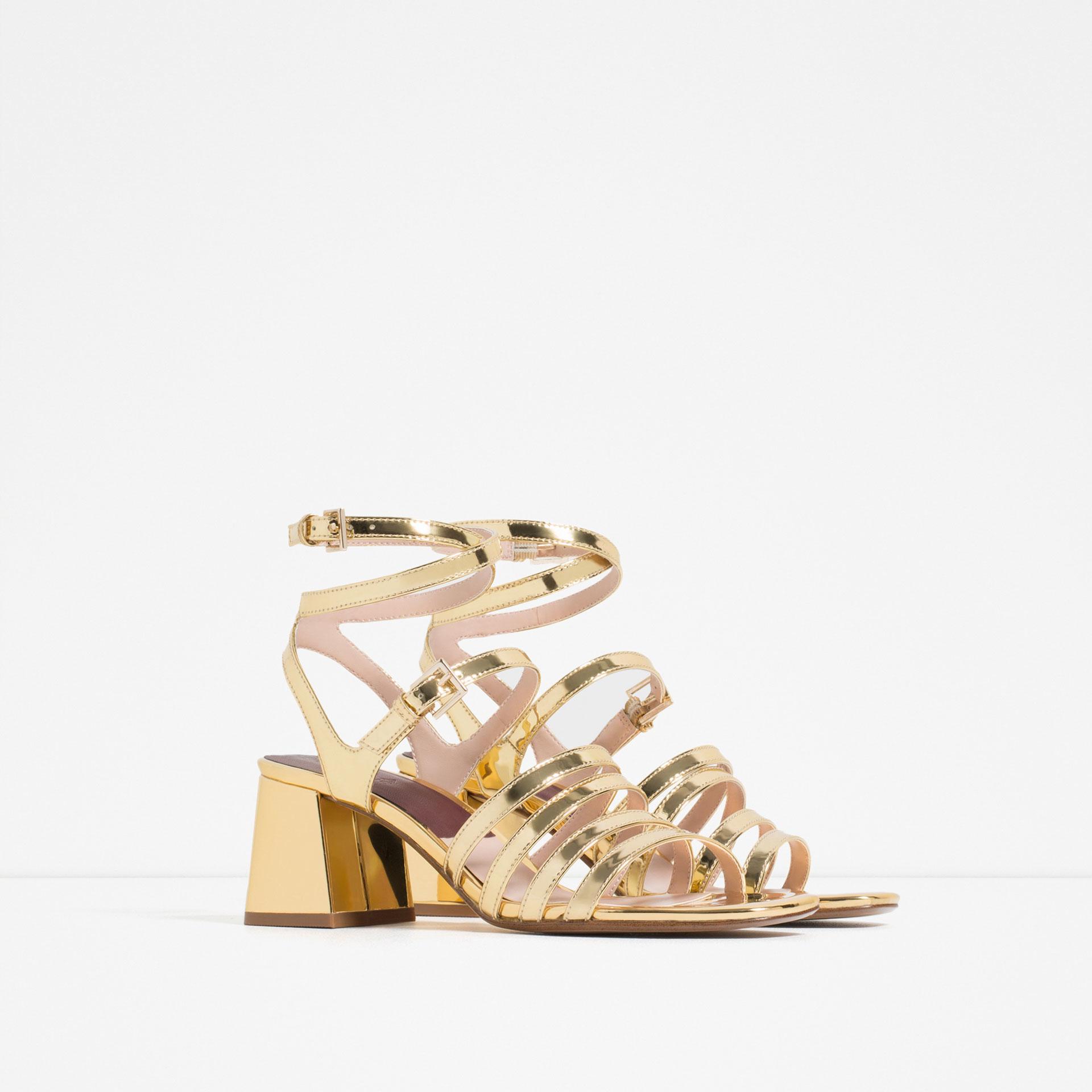 Zara Block Heel Strappy Sandals In Metallic Lyst