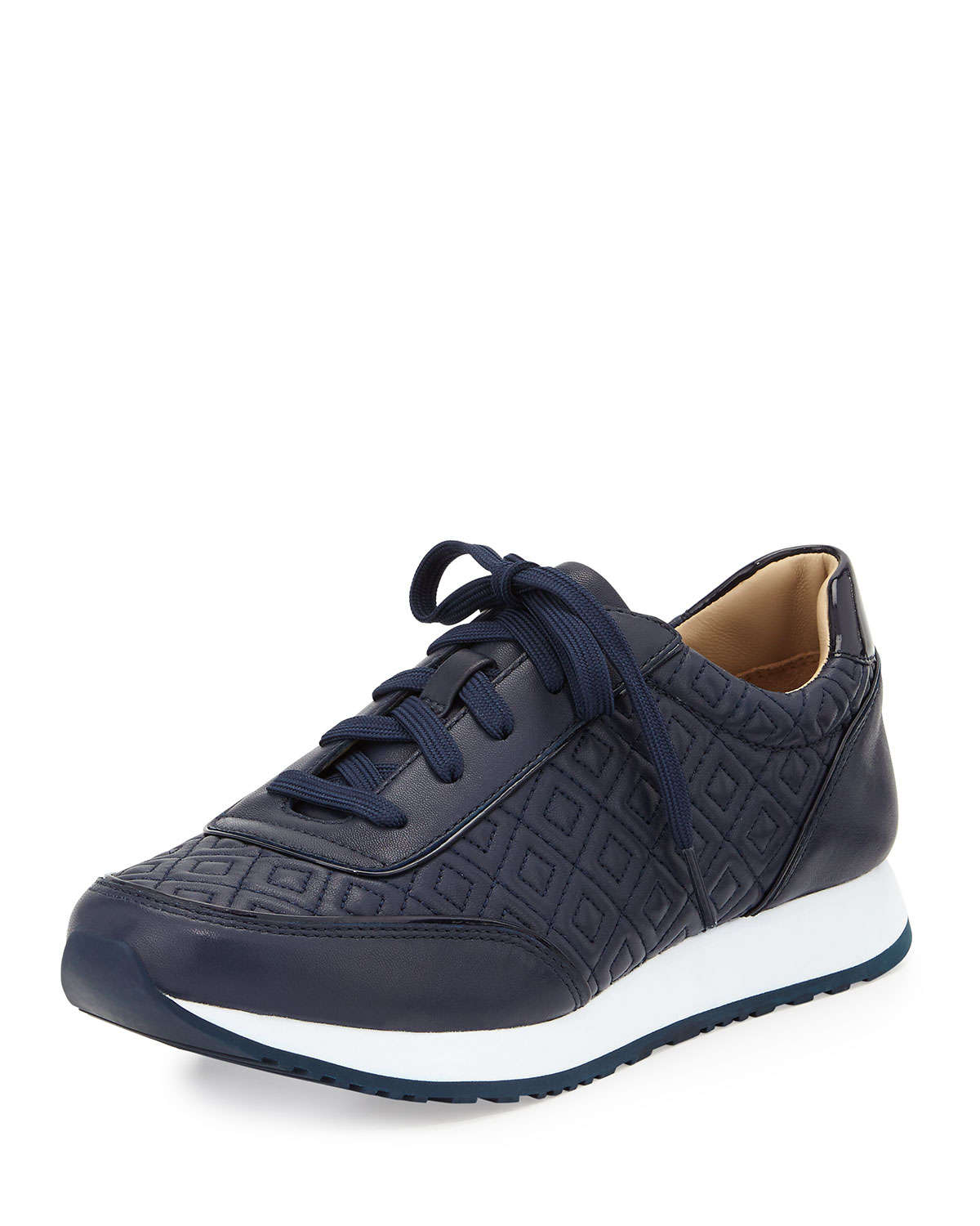 Lyst - Tory Burch Clive Quilted Leather Sneaker in Blue