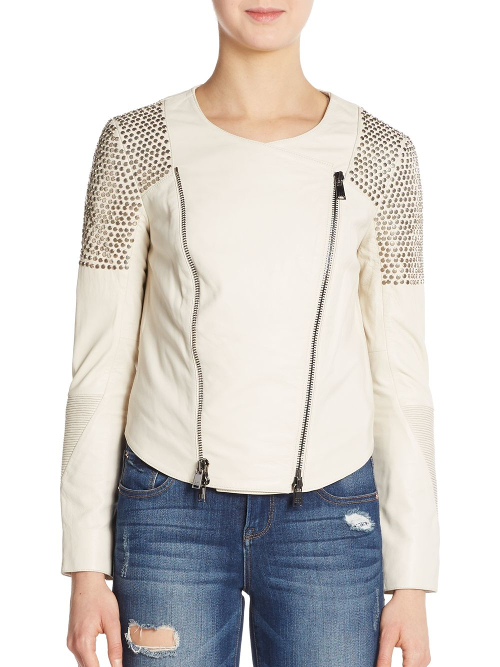 Lyst Haute Hippie Studded Leather Moto Jacket In White