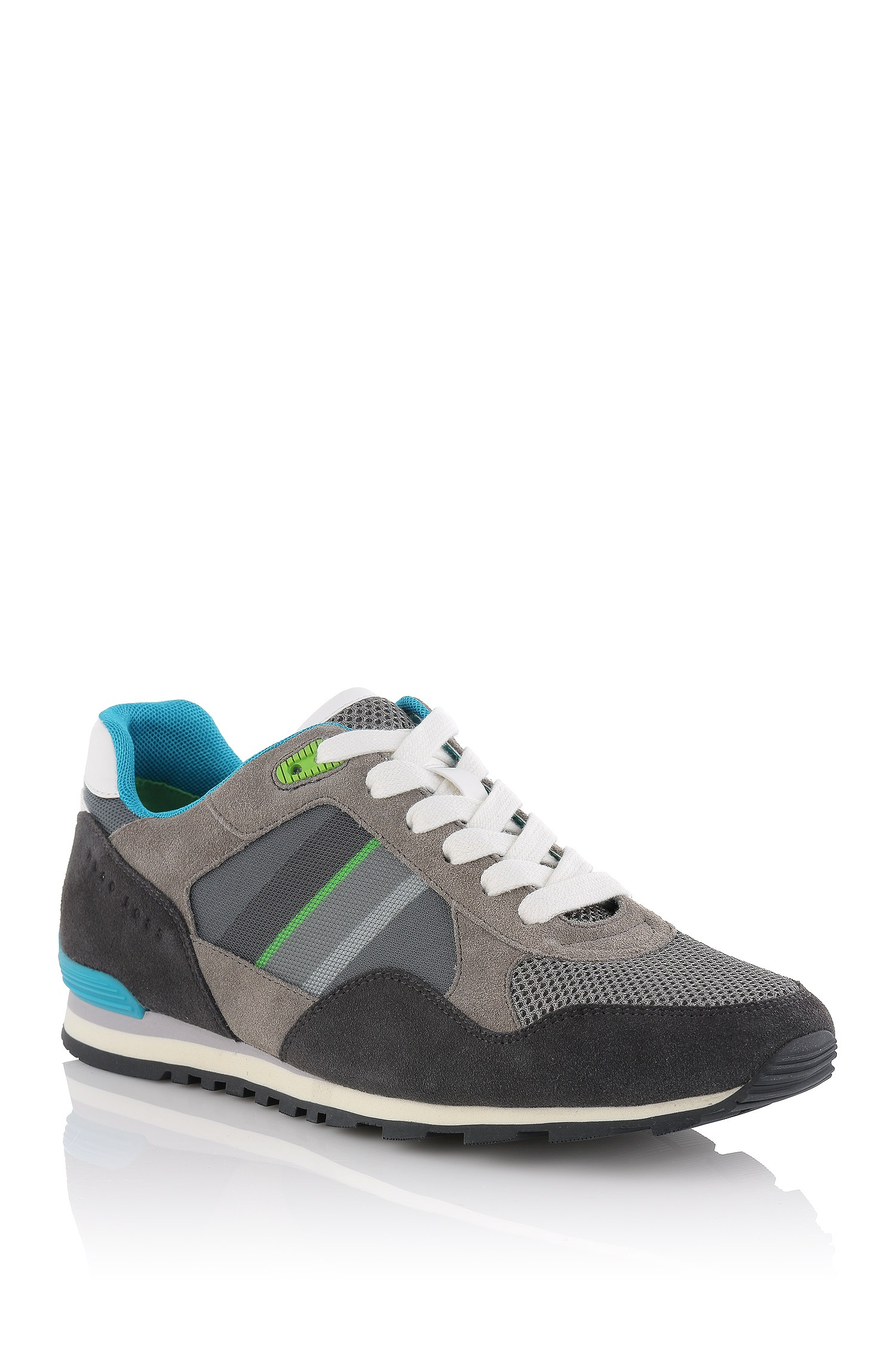 boss green 39 gym twist 39 neoprene and leather sneakers in gray for men grey lyst. Black Bedroom Furniture Sets. Home Design Ideas