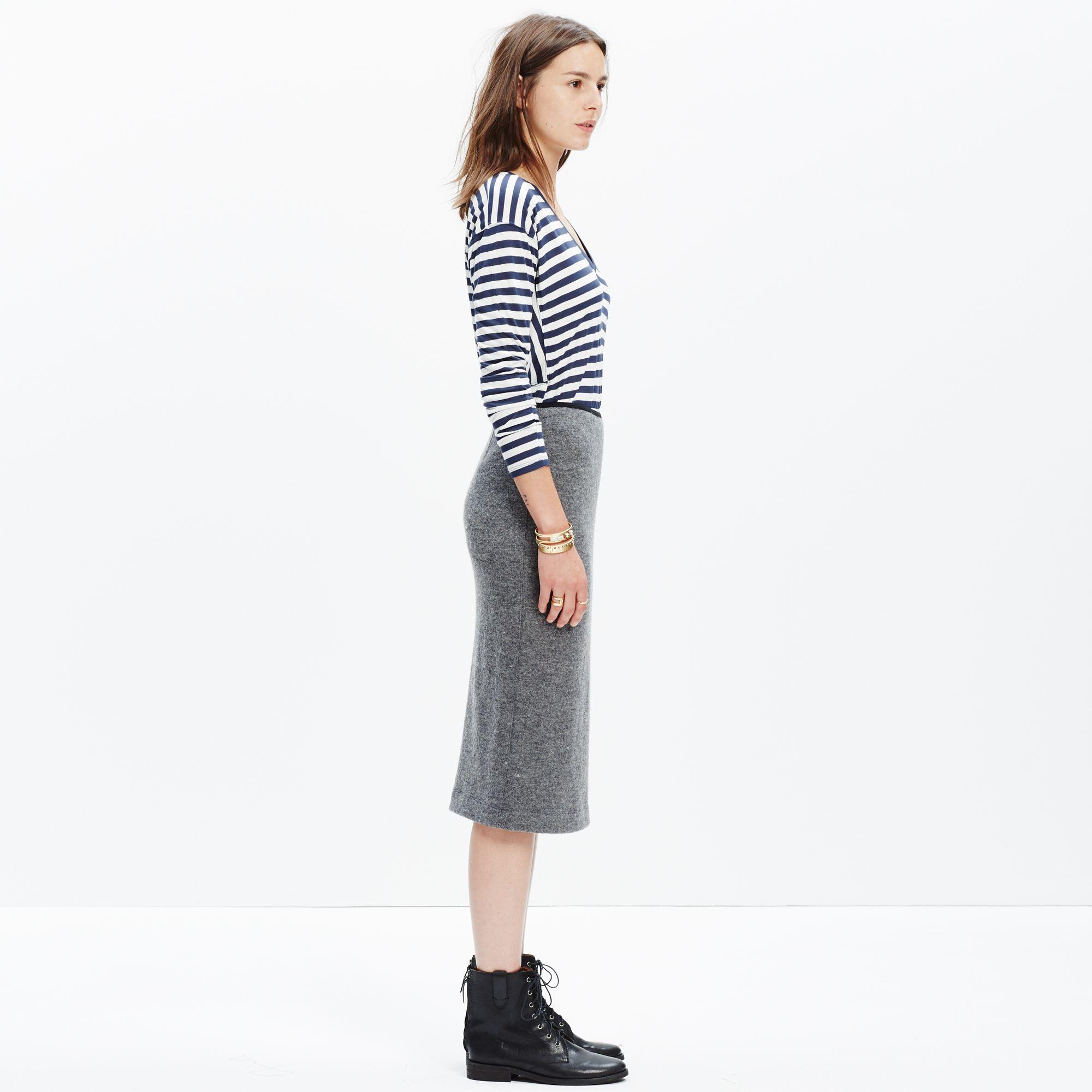 Madewell Pillar Midi Skirt in Gray | Lyst