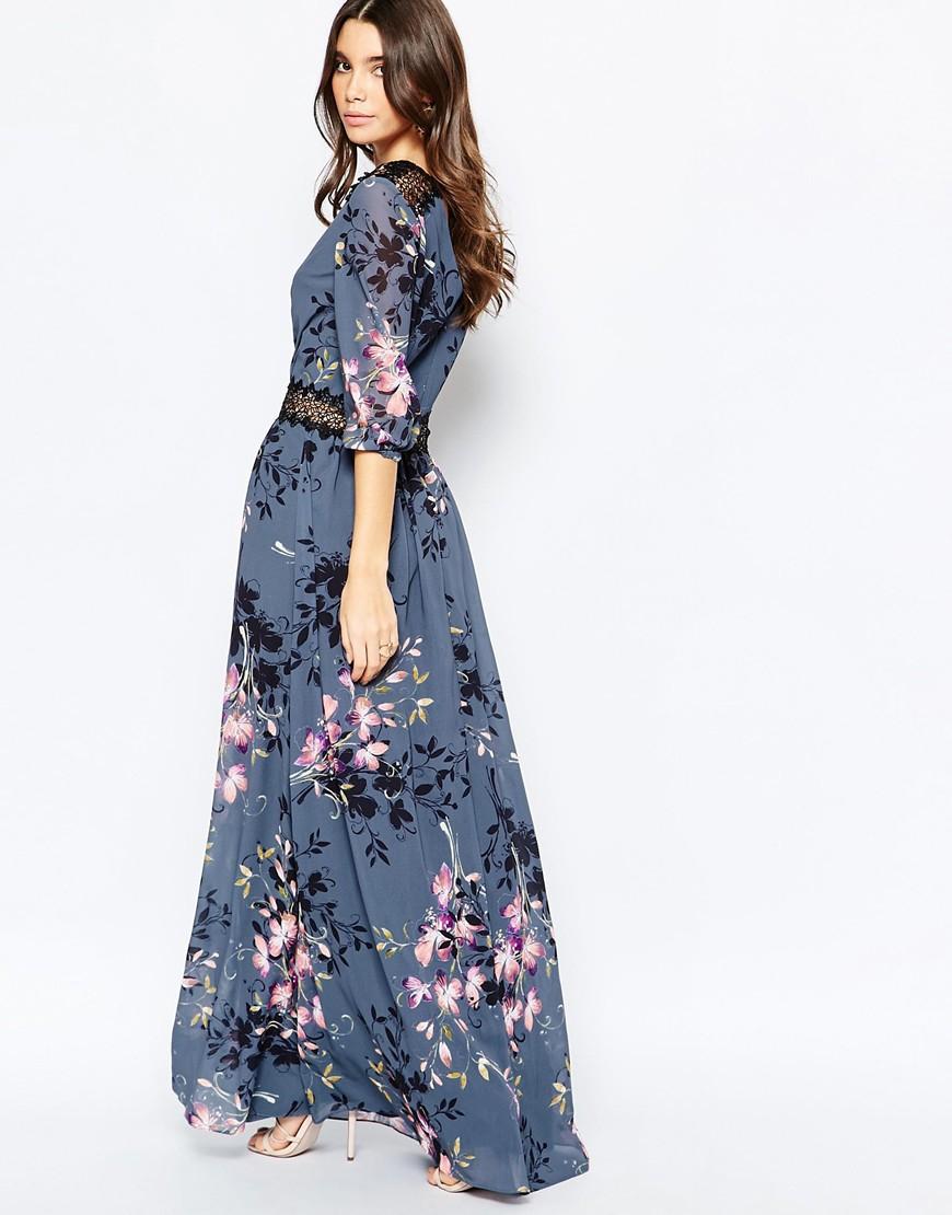 dd4e77d2f5b3 Little Mistress Floral Print And Lace Maxi Dress - Multi in Blue - Lyst