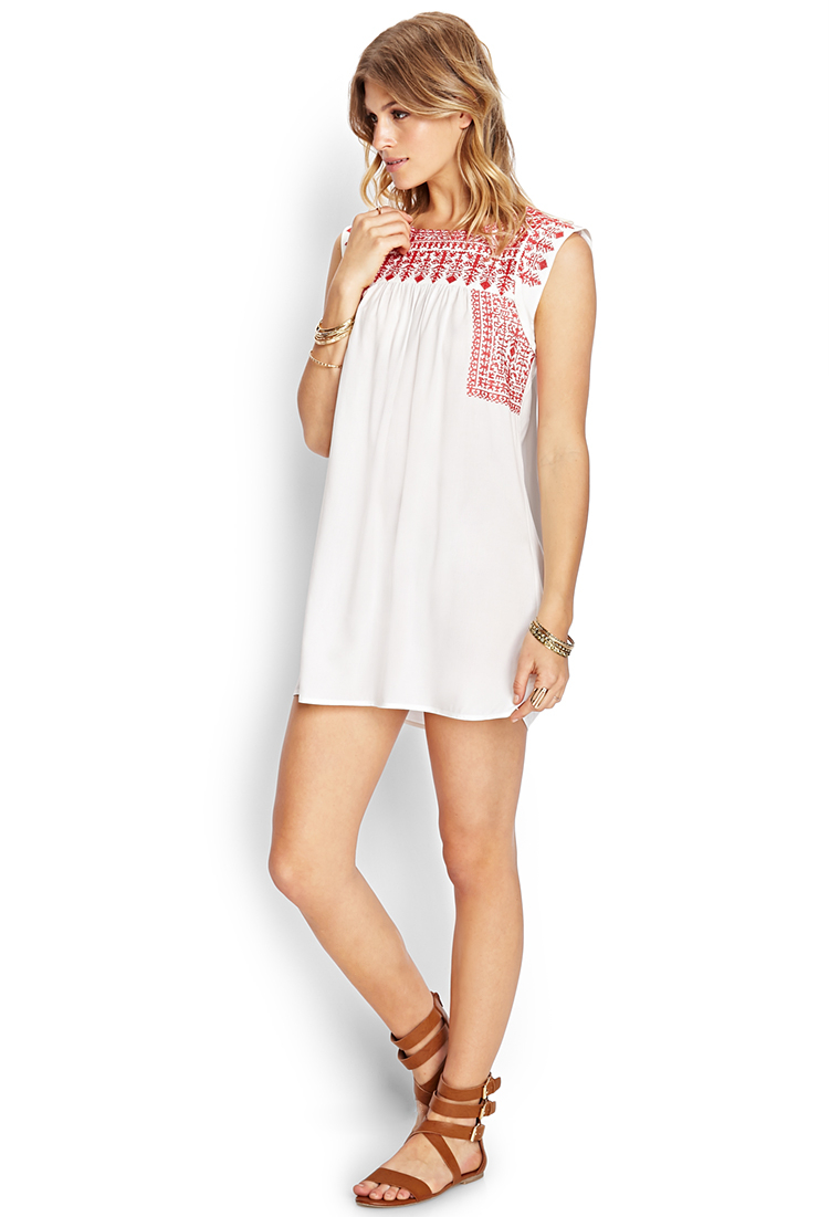 Forever 21 Embroidered Smock Dress In Ivory Red White Lyst