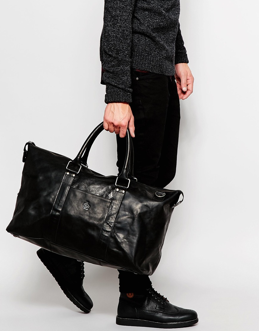 Lyst Lyle Amp Scott Leather Holdall In Black For Men