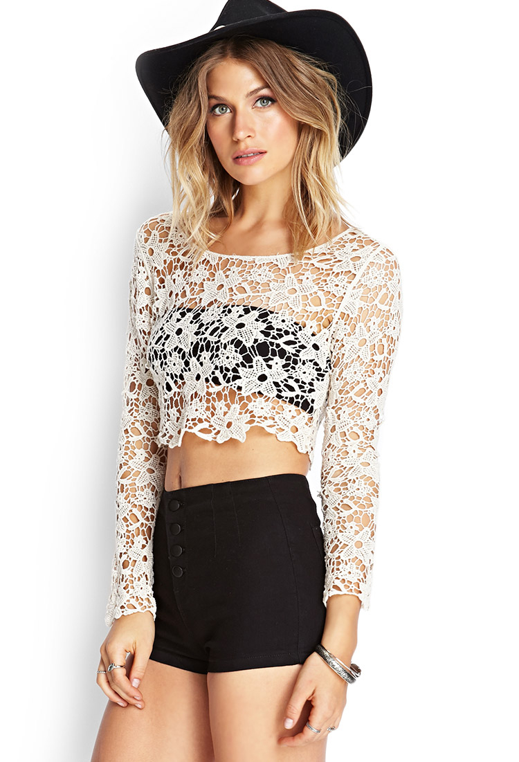 Lyst Forever 21 Floral Crochet Crop Top You Ve Been