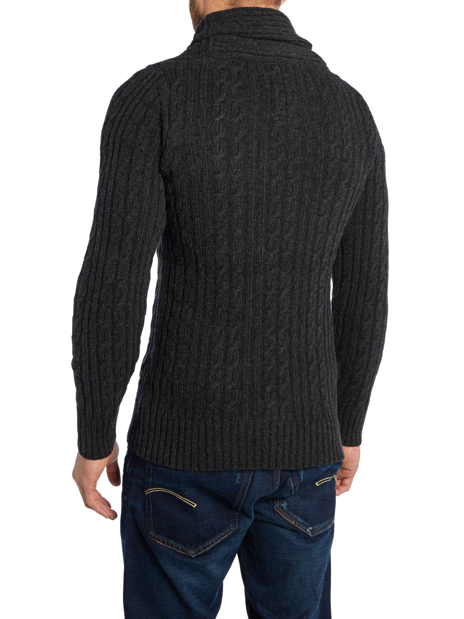 Knitting Cardigan Collar : G star raw shawl collar cable knit cardigan in black for