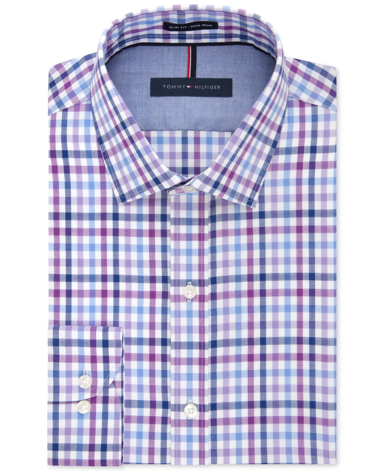 Lyst tommy hilfiger slim fit non iron blue violet for Slim fit non iron dress shirts
