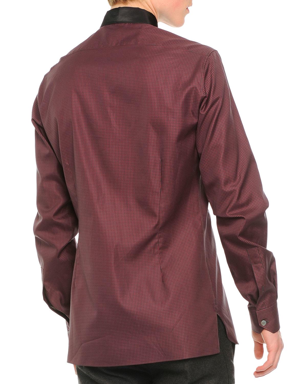 Lanvin contrast collar striped button down shirt in brown for Striped button down shirts for men