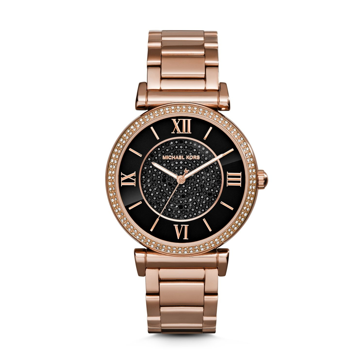Michael kors Catlin Pavé Onyx And Rose Gold-tone Watch in ...