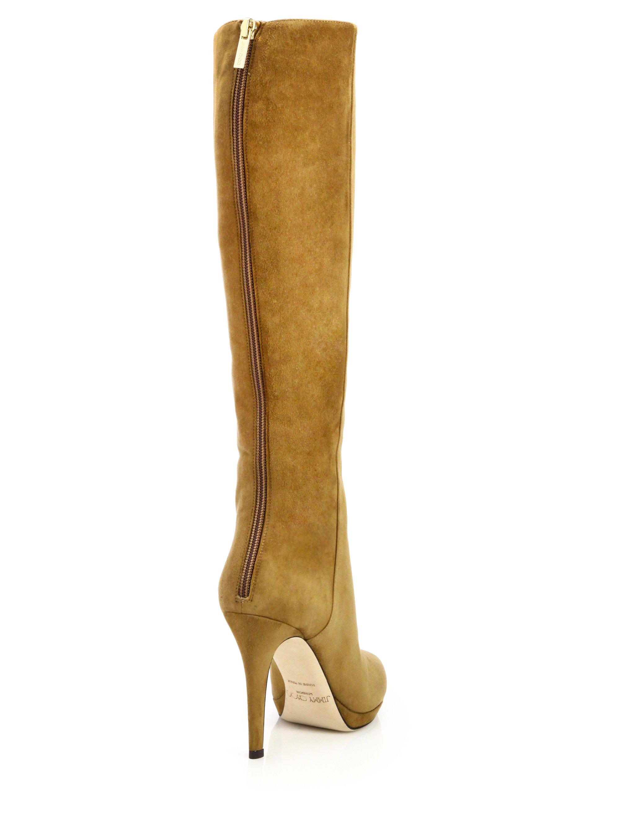 jimmy choo glynn suede knee high boots in brown lyst