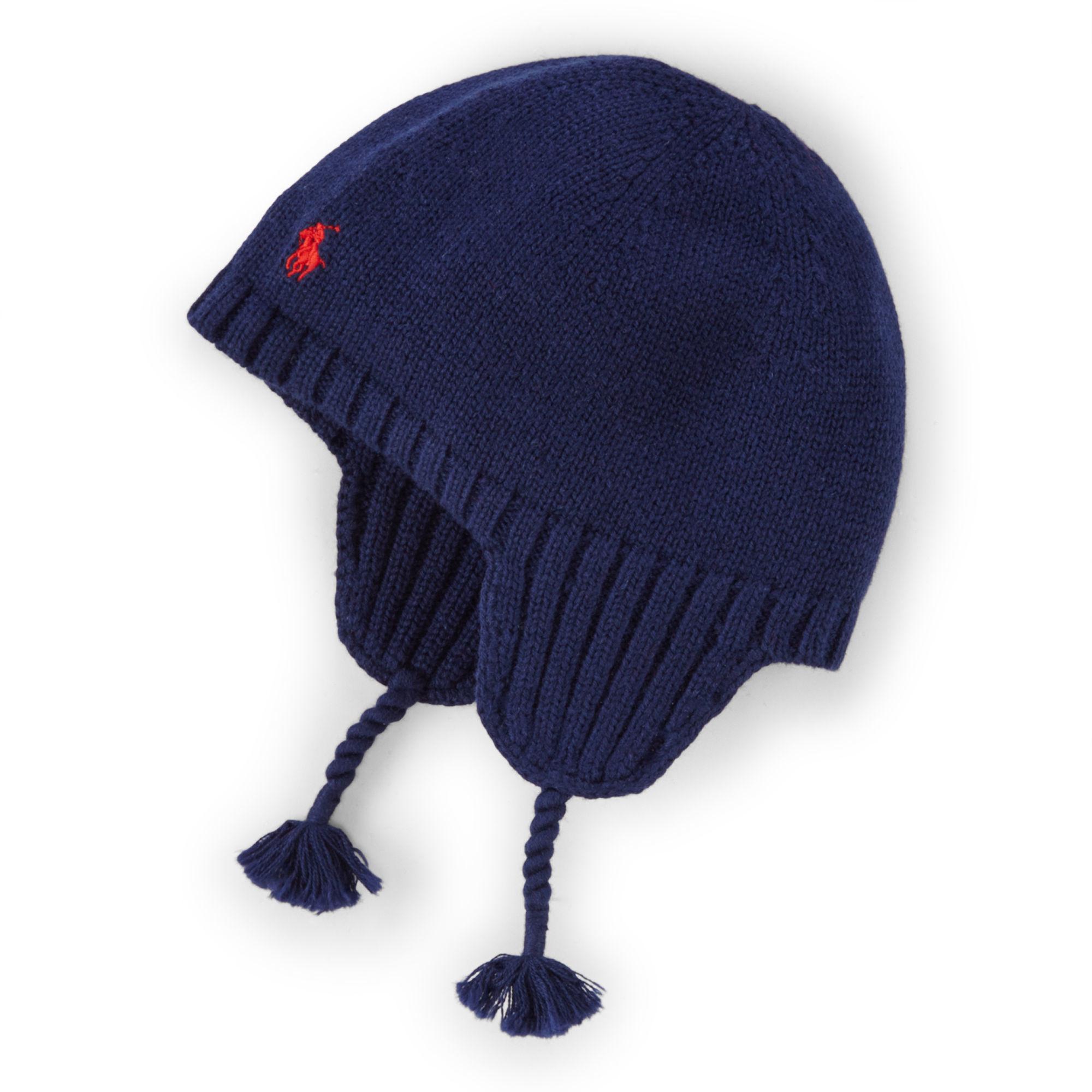 32d888e81 Ralph Lauren Tasseled Earflap Hat in Blue - Lyst