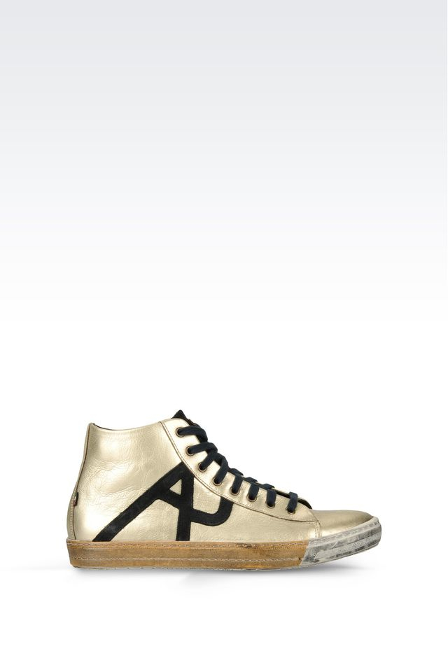 armani jeans high top sneaker in metallic for men lyst. Black Bedroom Furniture Sets. Home Design Ideas