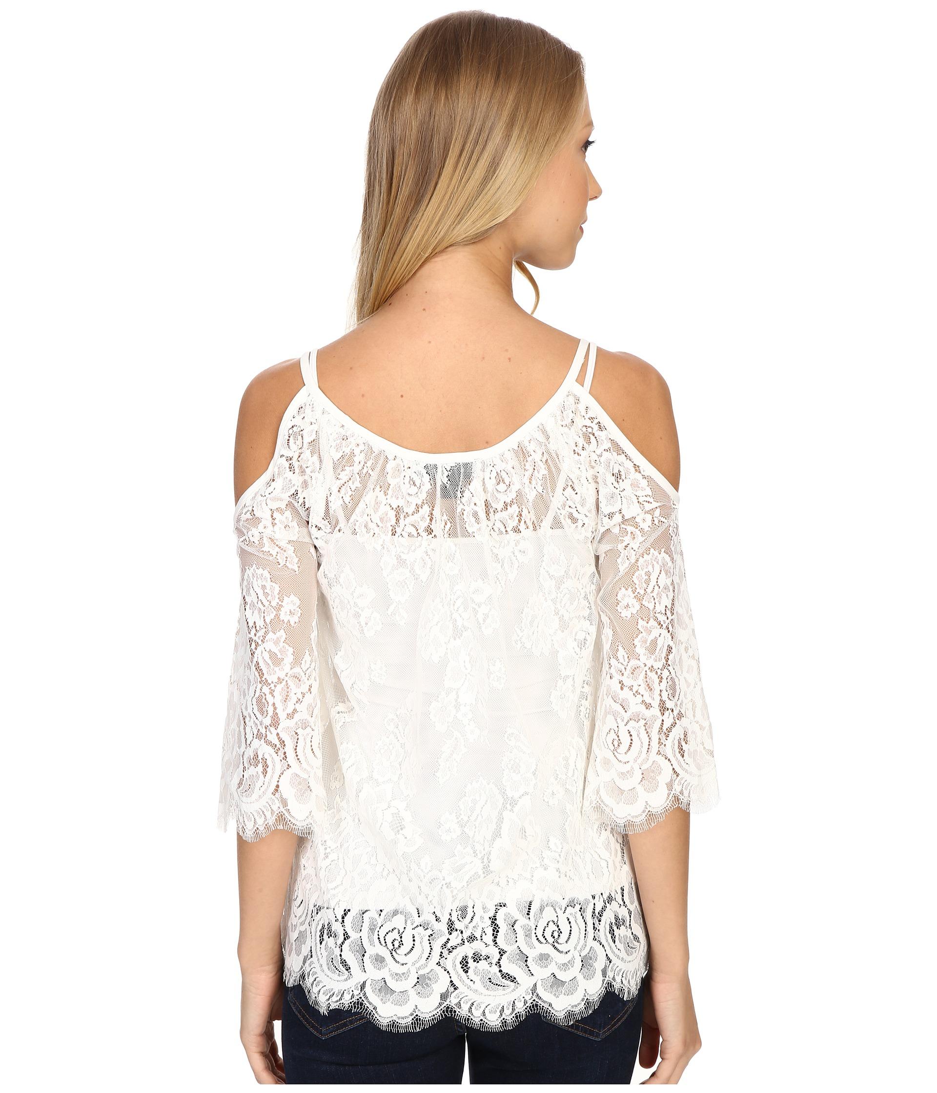 fdda7b6c6d965 Lyst - Karen Kane Cold Shoulder Lace Top in White