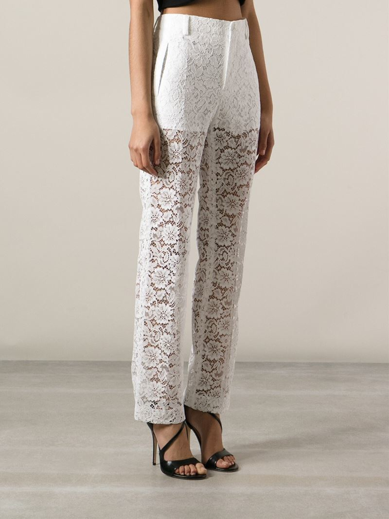 f8e4d1ede8a9 Lyst - Givenchy Sheer Lace Trousers in White