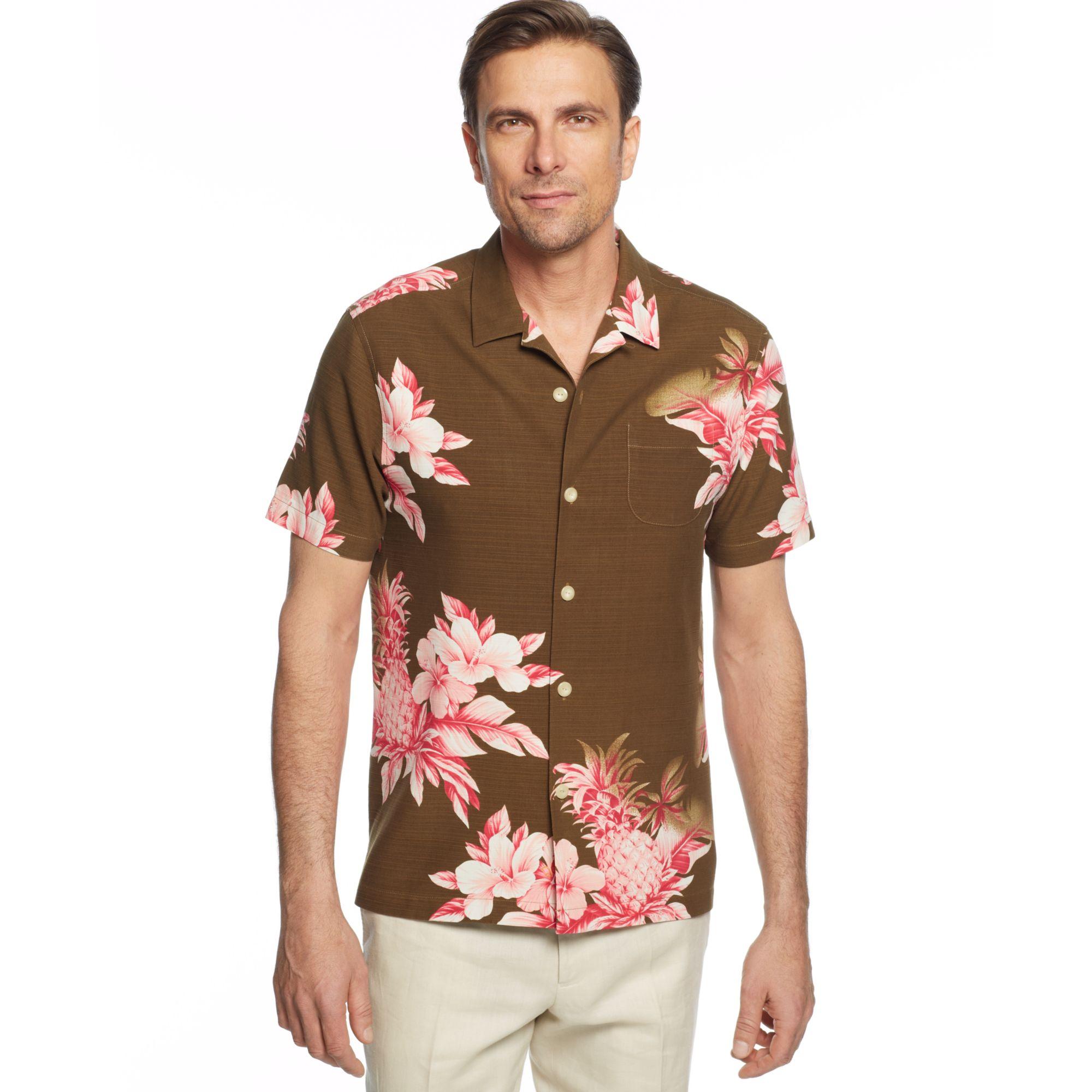 Tommy bahama pina colada silk shirt in pink for men cola for Tommy bahama christmas shirt 2014