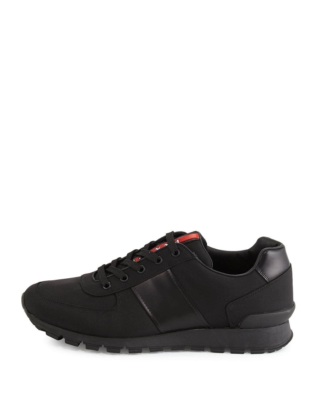 Lyst - Prada Leather-Detail Running Sneakers in Black for Men cfae3c1bc35c