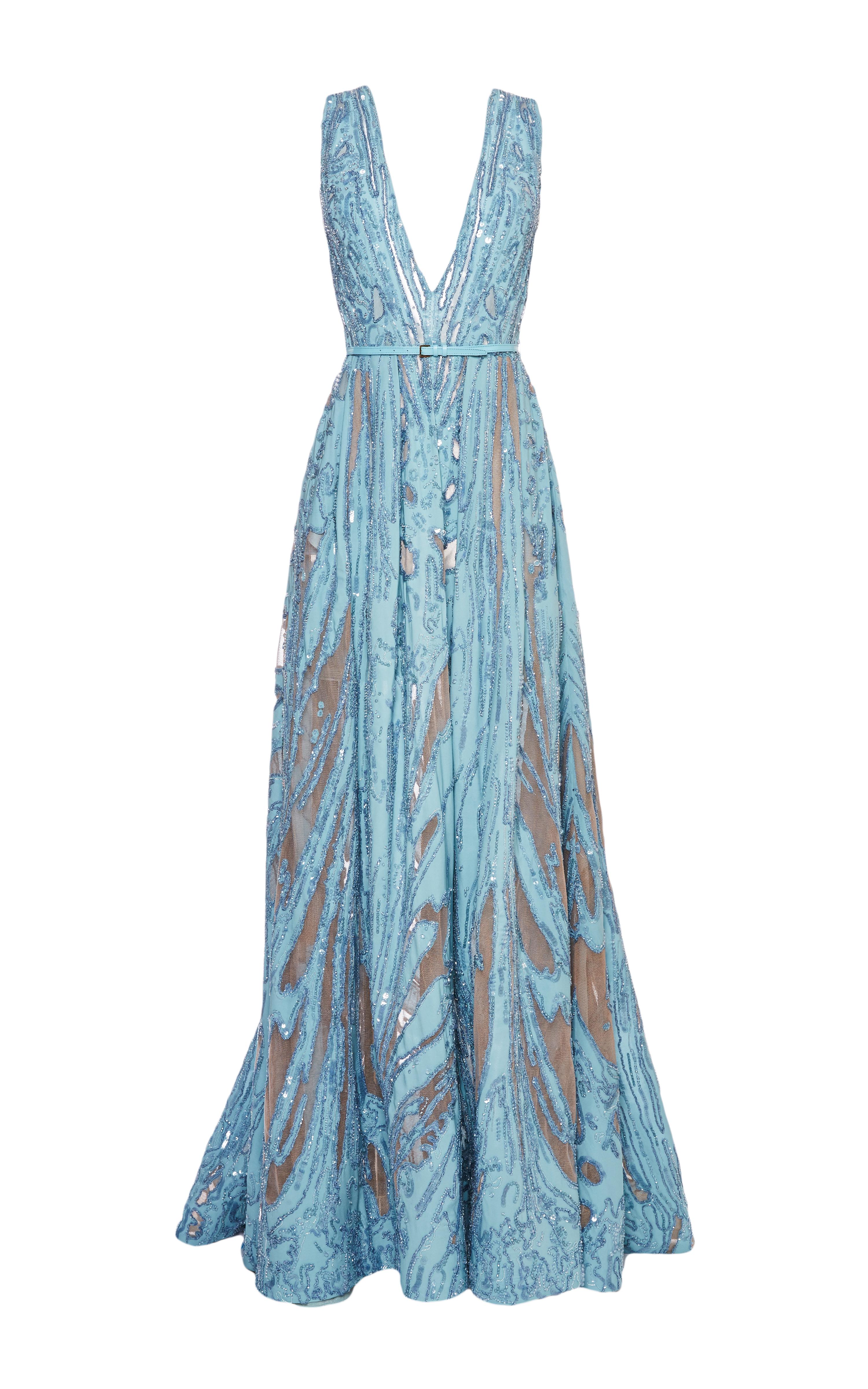 Elie Saab Embroidered Light Blue Double Silk Georgette