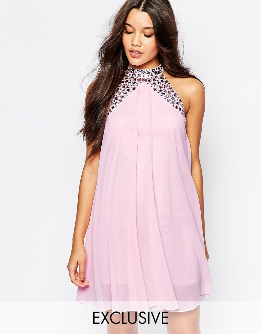Lipsy Embellished High Neck Babydoll Swing Dress in Pink | Lyst