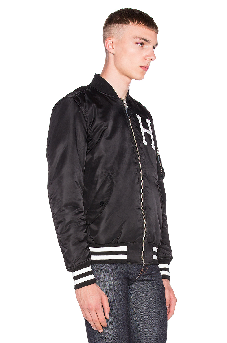 nice cheap wholesale price finest selection Huf Ma-1 Reversible Bomber Jacket in Black & Camo (Black) for Men ...