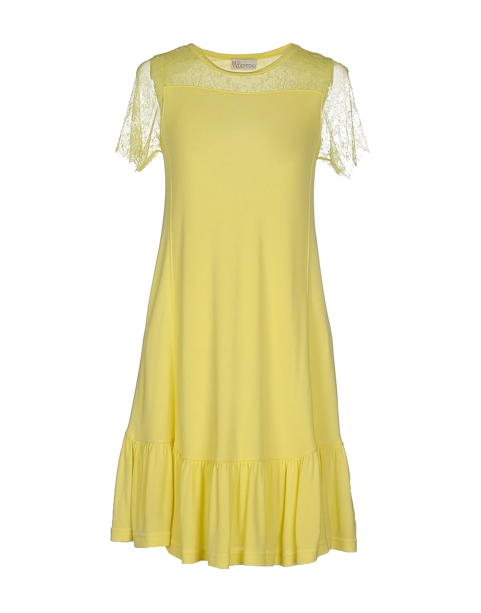 Red valentino Short Dress in Yellow (Light yellow) | Lyst