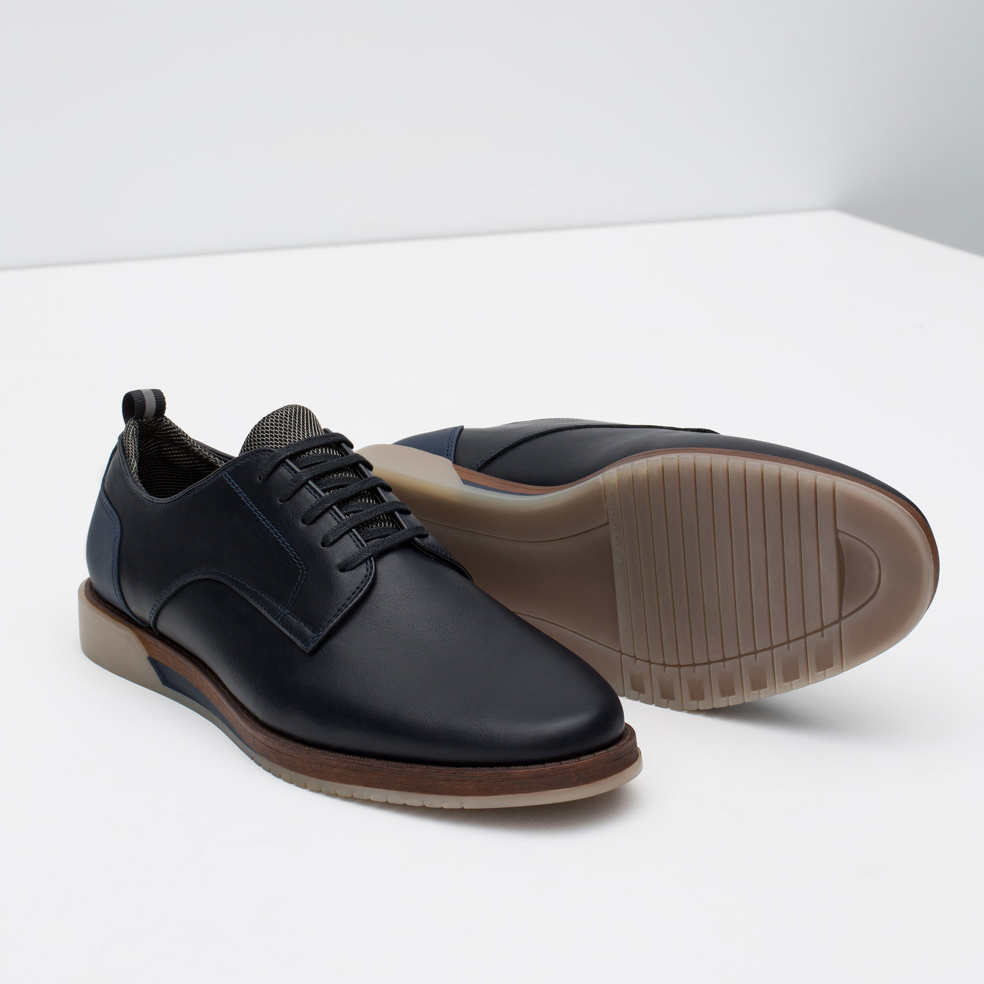 zara casual shoes with contrast sole in blue for lyst