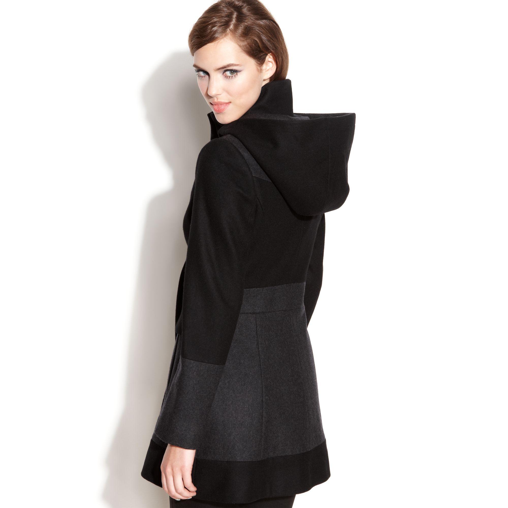 Guess Coat Hooded Colorblock Wool-blend Walker in Black | Lyst
