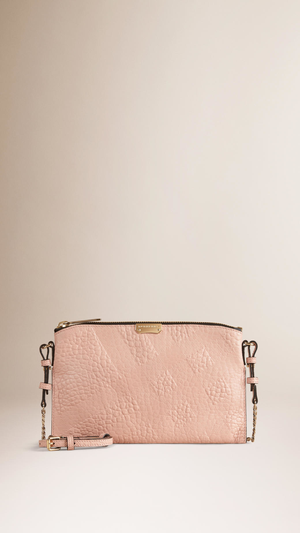 3a5b62f5afb8 Lyst - Burberry Check-embossed Leather Clutch Bag Pale Orchid in Pink