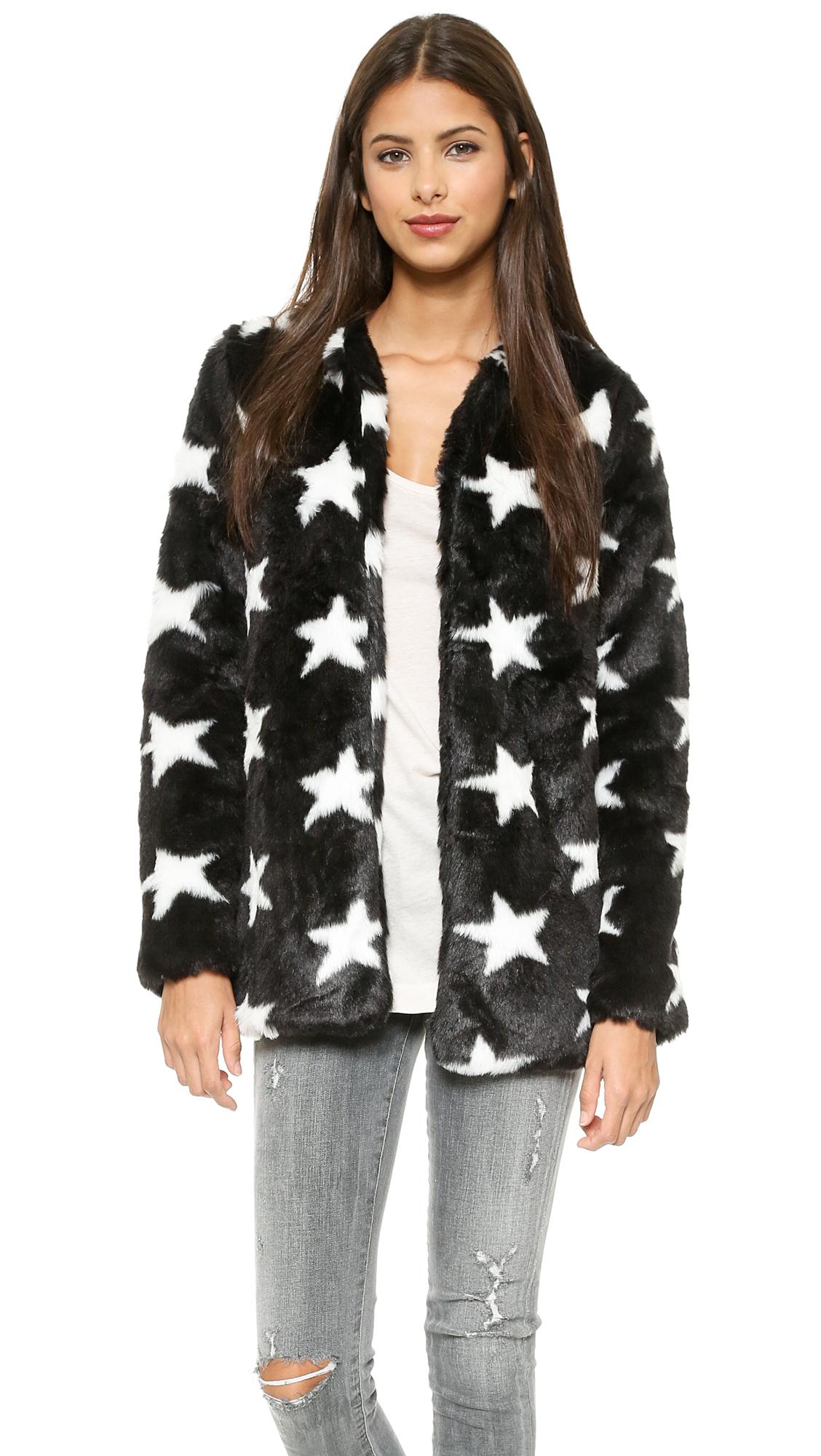 Lyst Re Named Star Faux Fur Coat Black White In Black