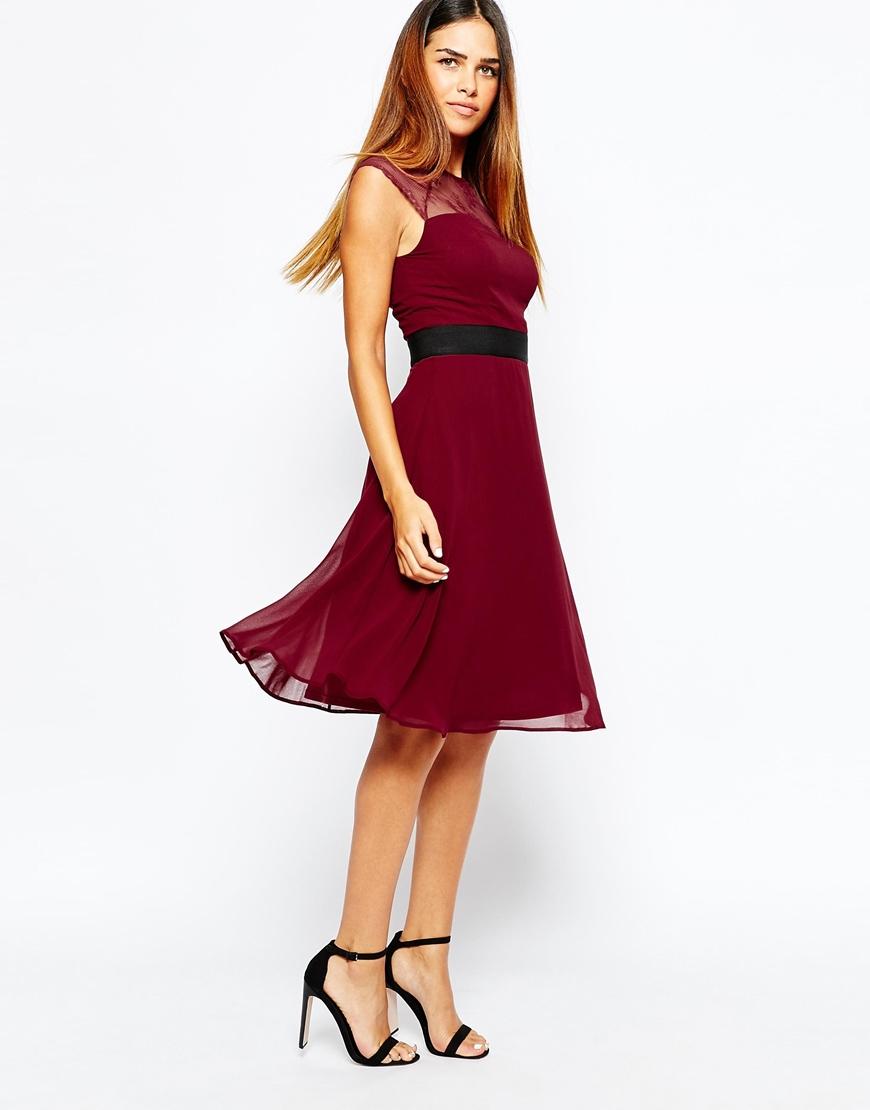 Lyst - Elise Ryan Midi Prom Dress With Sweetheart Lace Top in Purple 134f2bbfa