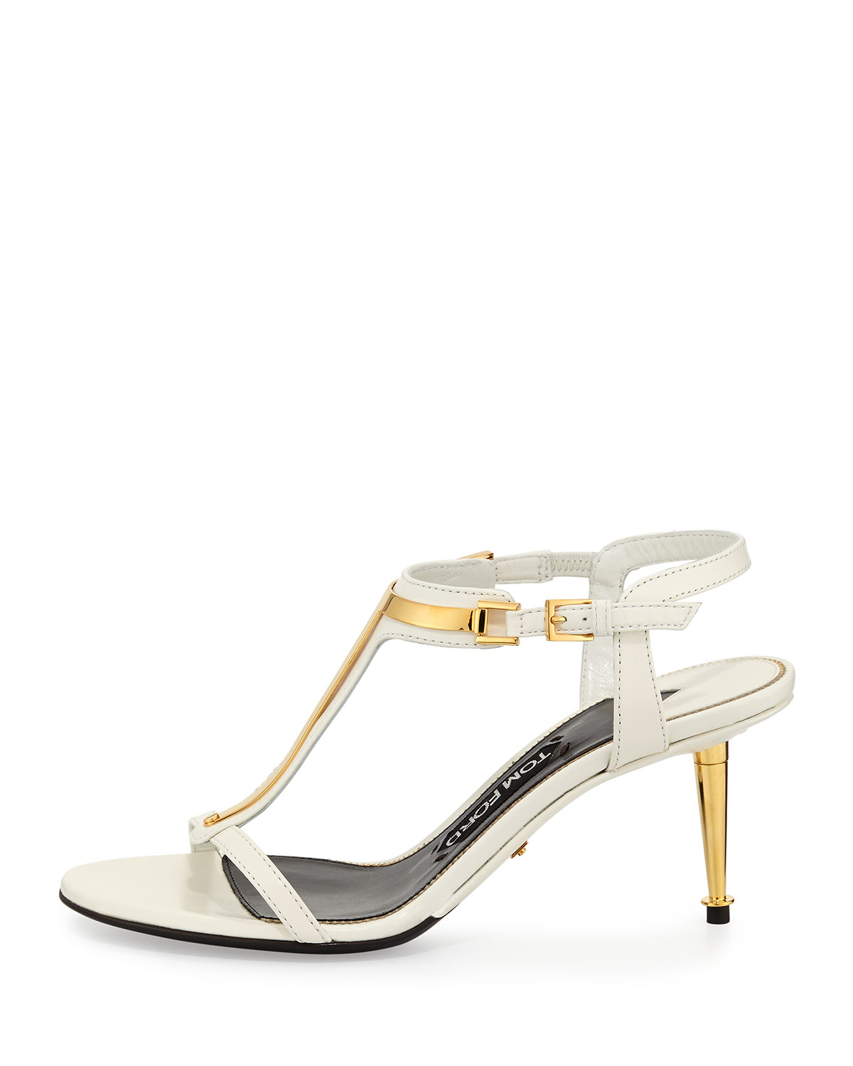 848dec8ad669 Lyst - Tom Ford Leather T-bar Sandal in White