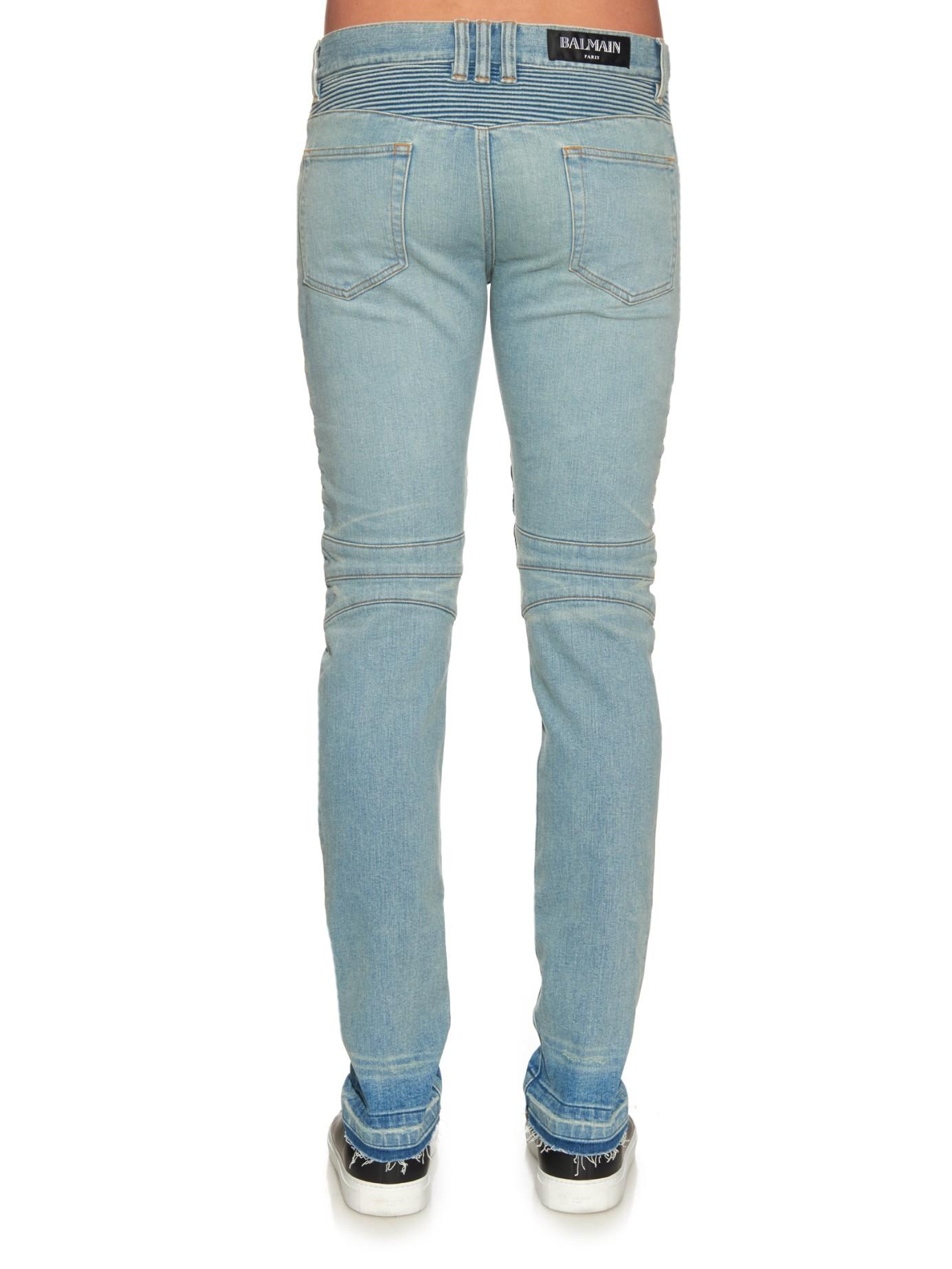 Balmain Denim Slim-fit Tie Dye Moto Jeans in Blue for Men