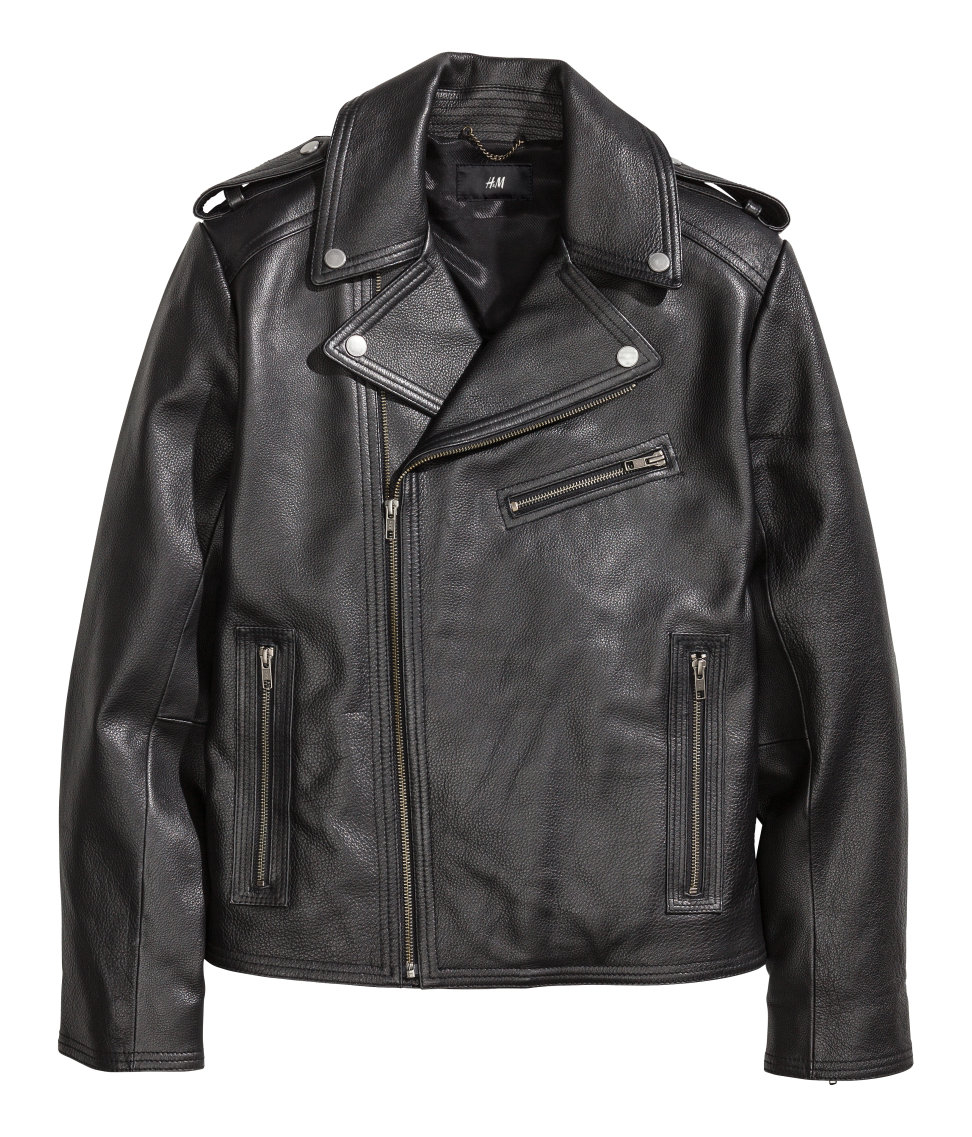 Lyst h m leather biker jacket in black for men for Leather jacket and shirt