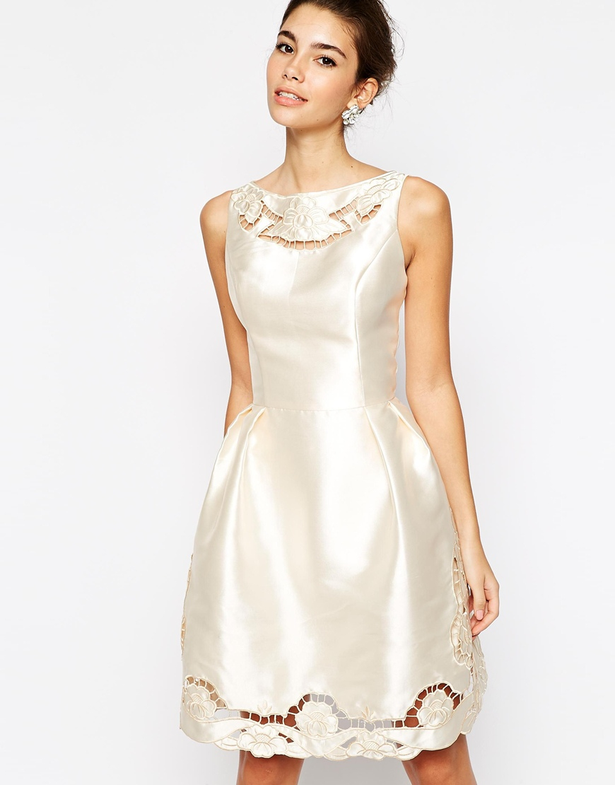 Lyst - Chi Chi London Full Skater Prom Dress With Laser Cutwork ...