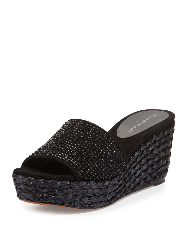 Black sandals rhinestones - Donald J Pliner Frida Rhinestone Wedge Slide Sandal In Black Lyst