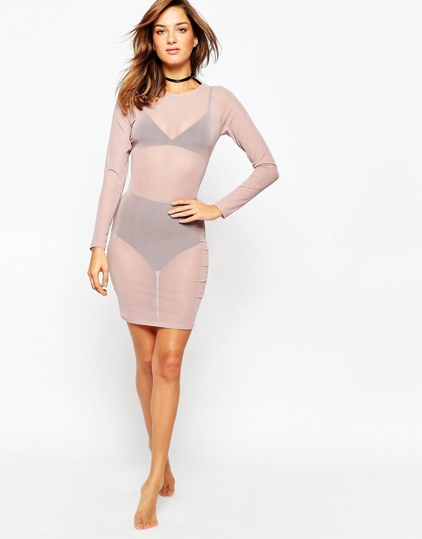 c146e9d582c1 Lyst - ASOS Mesh Bodycon Slip Dress in Pink