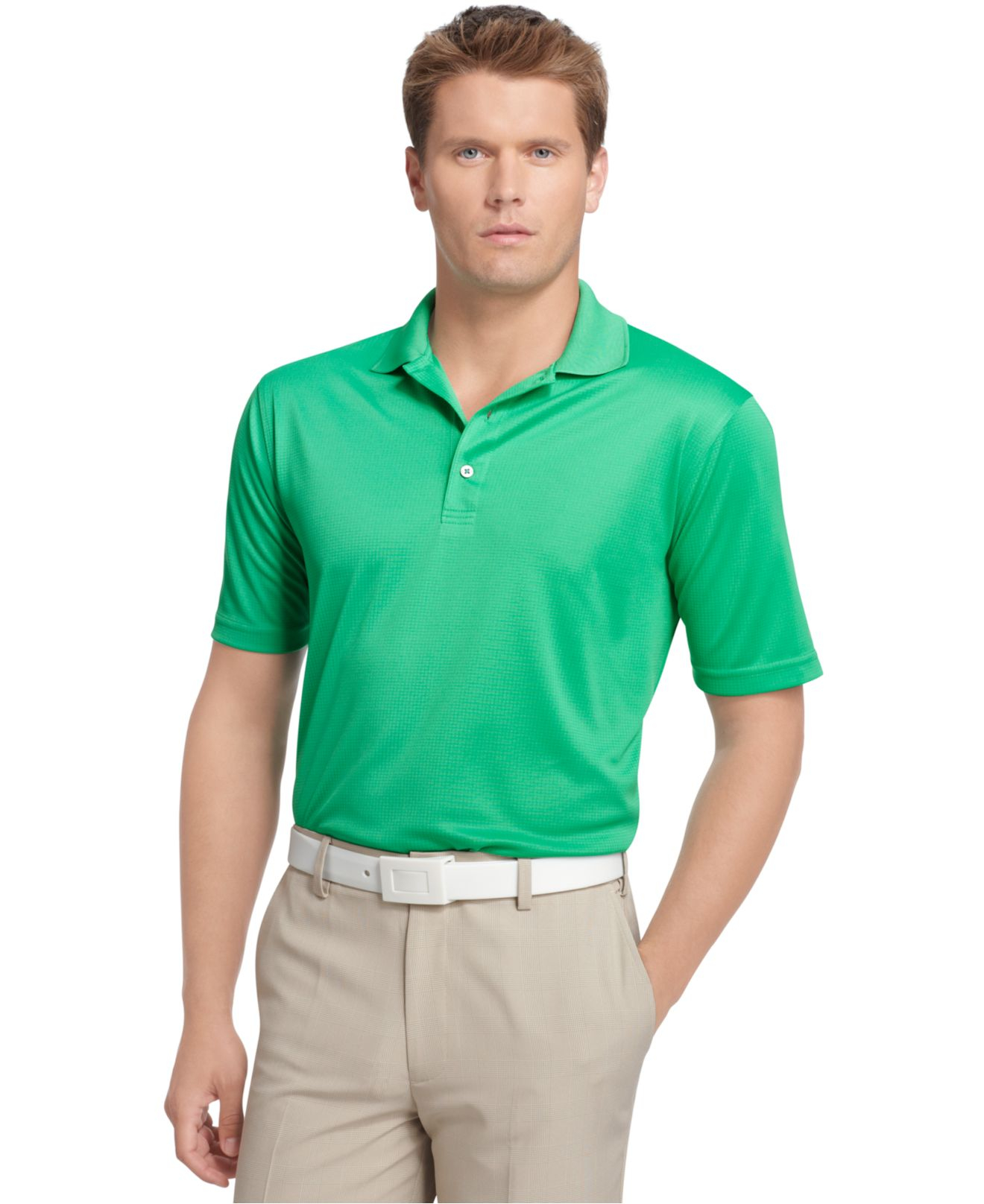 4be75b87 Lyst - Izod Performance Solid Grid Golf Polo in Green for Men