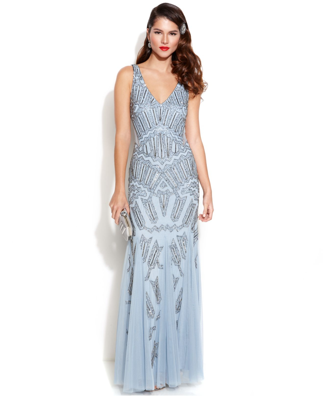 Adrianna papell Petite Embellished Mermaid Gown in Blue  Lyst