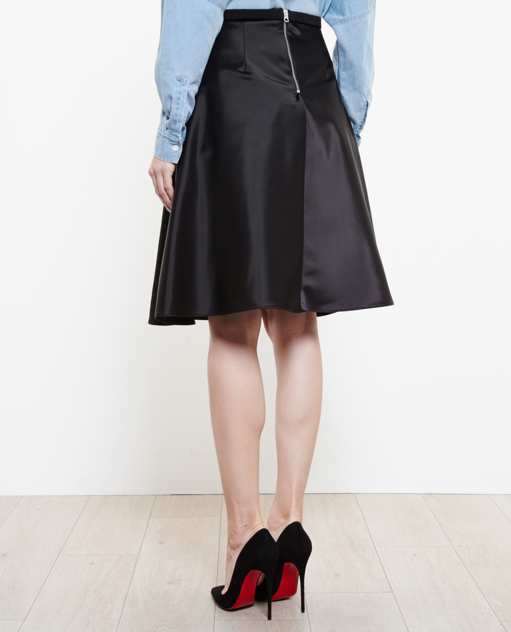 Acne Keals Satin Midi Skirt in Black | Lyst