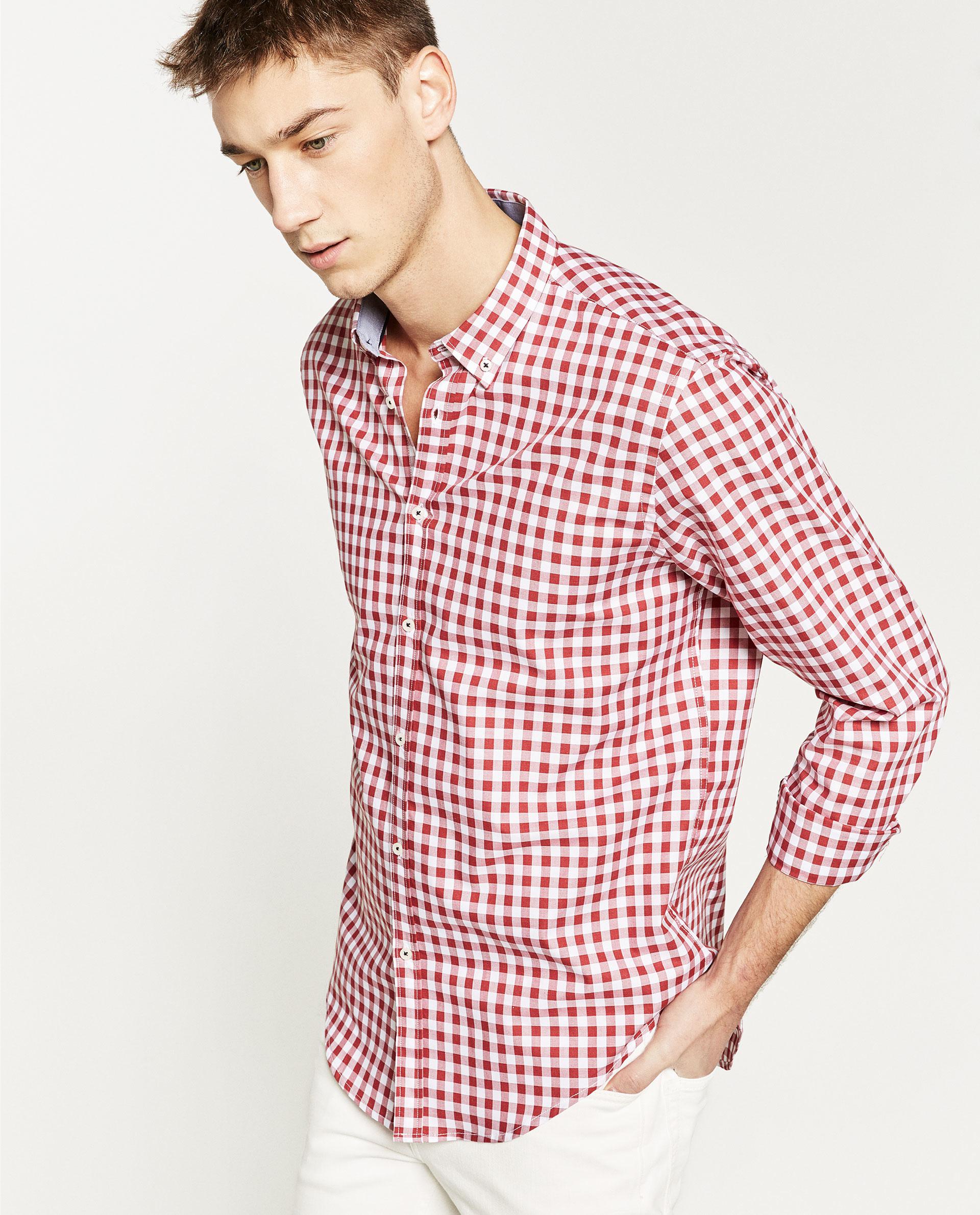 Zara gingham check shirt in red for men lyst for Men s red gingham dress shirt