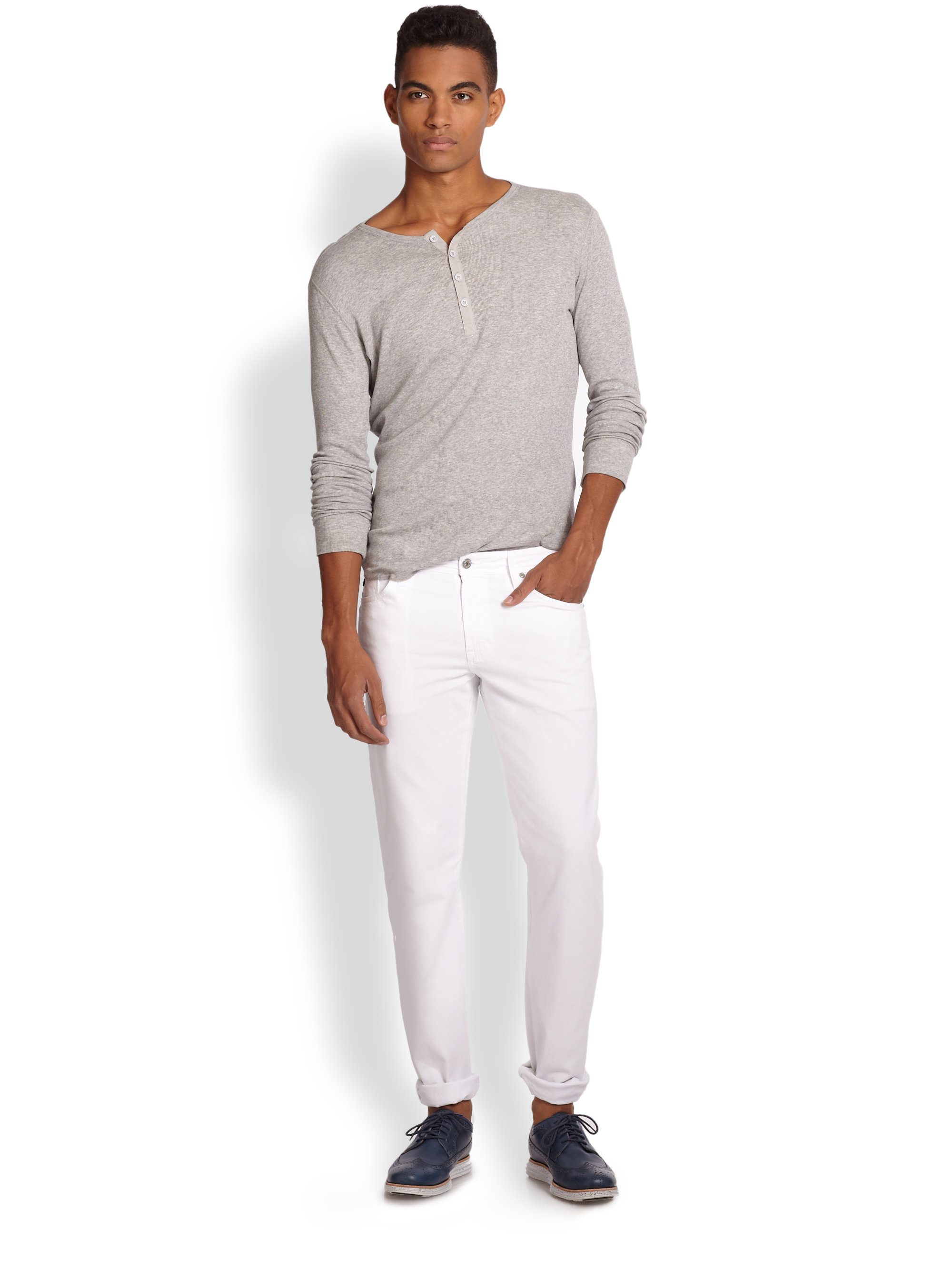 ag adriano goldschmied the graduate tailored fit jeans in white for men lyst. Black Bedroom Furniture Sets. Home Design Ideas