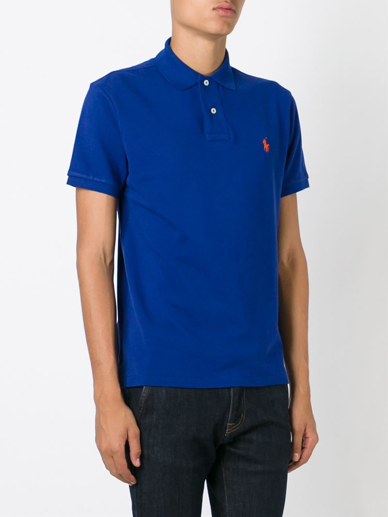 polo ralph lauren slim fit polo shirt in blue for men lyst. Black Bedroom Furniture Sets. Home Design Ideas