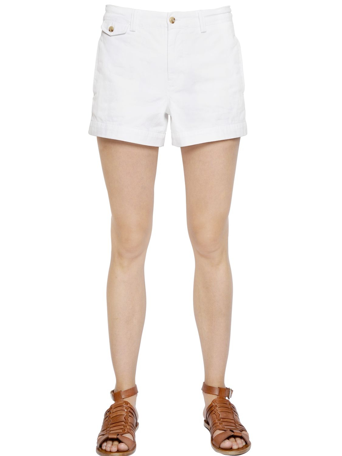 Polo ralph lauren Cotton Chino Shorts in White | Lyst